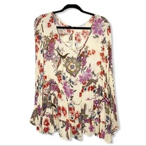 PATRONS OF PEACE / cream pink floral ruffle top